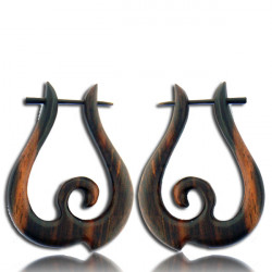 Brown Sono Wood Pin Earrings