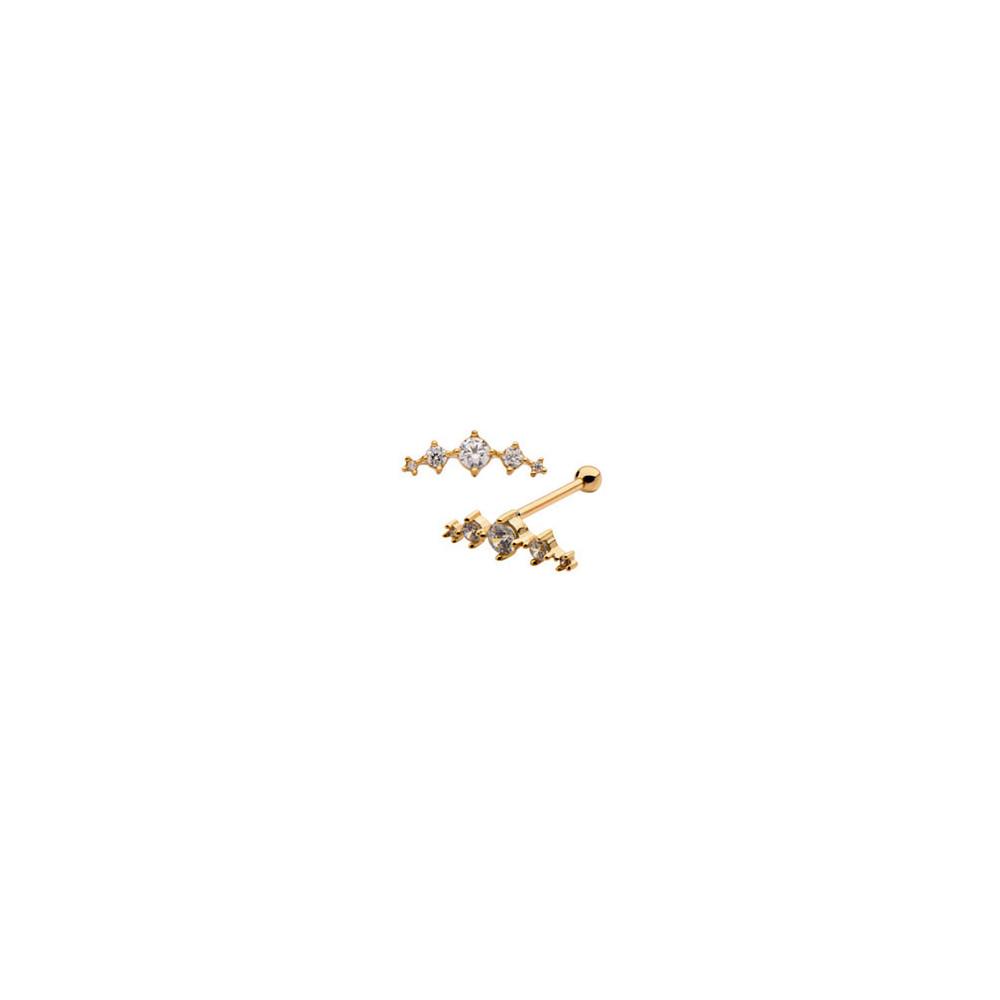 14K Solid Gold Claw Set 5 Gem Cluster Cartilage Barbell