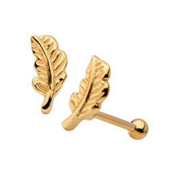 14K Solid Gold Feather Cartilage Barbell