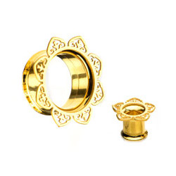 Gold Plated Surgical Steel Internal Thread Double Flare Pointed Filigree Tunnels
