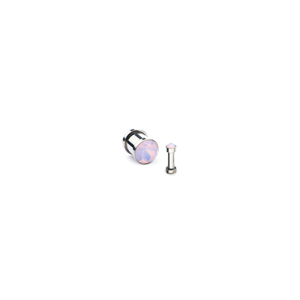 Surgical Steel Mechanical Plug with Pink Opal