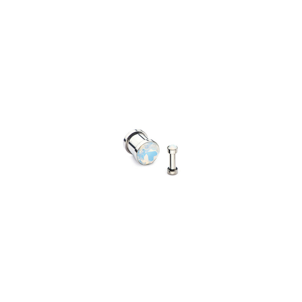Surgical Steel Mechanical Plug with White Opal