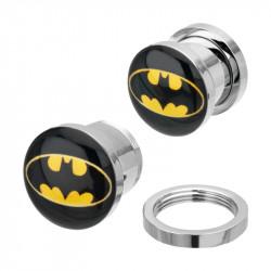 Surgical Steel Mechanical Plug with Batman Logo
