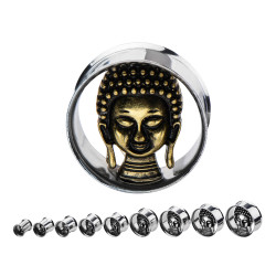 Surgical Steel Double Flare Tunnel with Brass Buddha Head