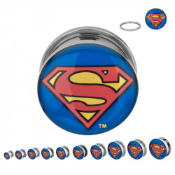 Surgical Steel Mechanical Plugs with Superman Logo