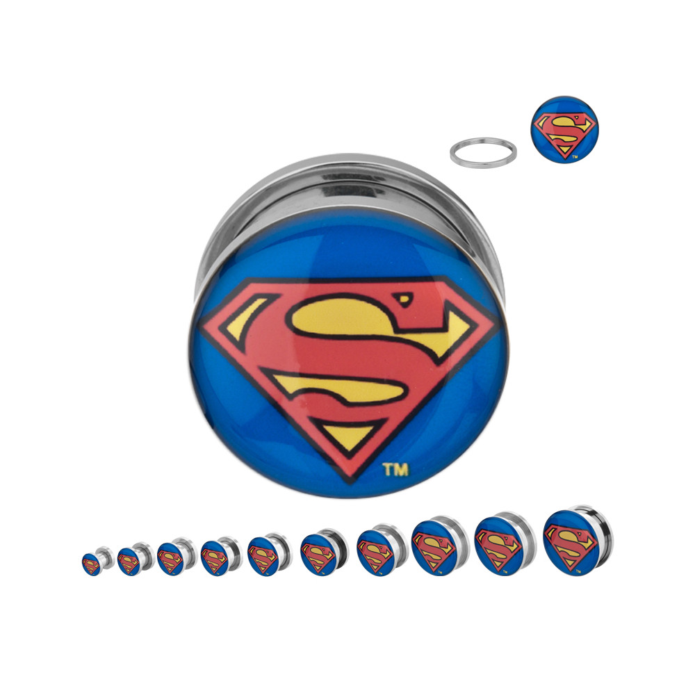 Surgical Steel Mechanical Plug with Superman Logo