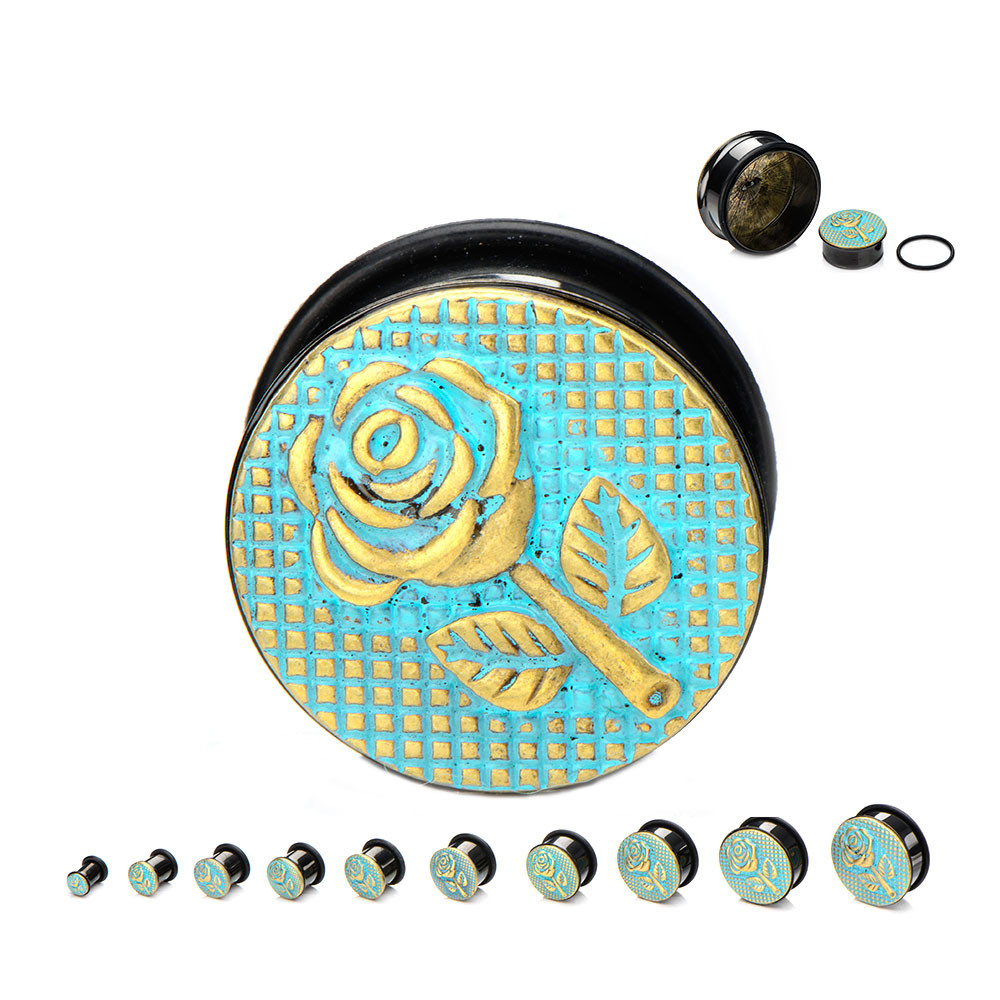 Black Surgical Steel Single Flare Plugs with Antique Brass Rose