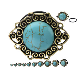Surgical Steel Single Flare Plugs with Synthetic Turquoise Stone in a Cabachon Frame
