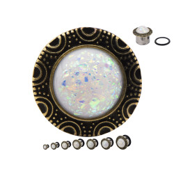 Surgical Steel Single Flare Plugs with Synthetic White Opal in a Cabachon Frame
