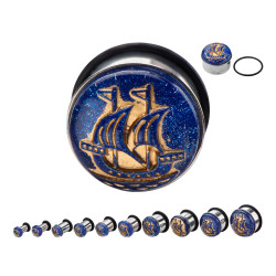 Surgical Steel Single Flare Plugs with Blue and Gold Boat