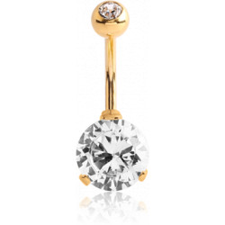 Gold Plated Surgical Steel Claw set CZ Gem Belly Button