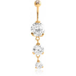 Gold Plated Surgical Steel Claw set Double CZ Gem Dangle Belly Button