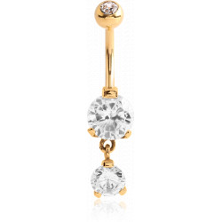 Gold Plated Surgical Steel Claw set CZ Gem Dangle Belly Button