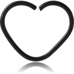 Black Surgical Steel Heart Continuous Ring