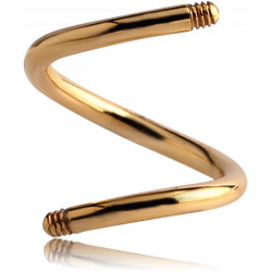 Gold Plated Surgical Steel Externally Threaded Spiral Pin