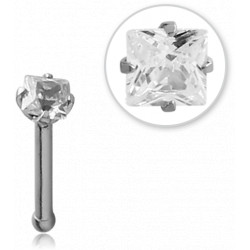 Surgical Steel Square Claw Set Gem Ball Stud