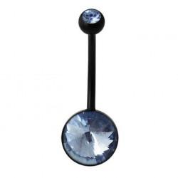 Black Bioplast Gem Belly Button Ring for Pregnancy