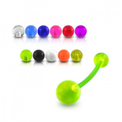 Bioplast Belly Button Ring with Plain Acrylic Balls