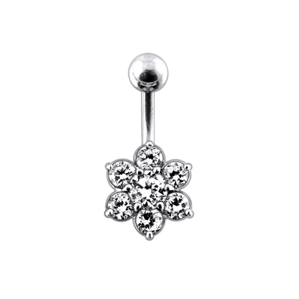 Surgical Steel And 925 Sterling Silver Non Dangle Belly Button Ring