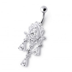 Surgical Steel and 925 Sterling Silver Dangle Belly Button Ring