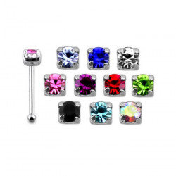 925 Sterling Silver Claw Set Small Square Gem Ball Stud