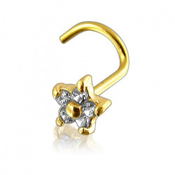 14K Solid Yellow Gold Claw Set CZ Gem Flower Nose Screw
