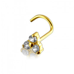 14K Solid Yellow Gold Claw Set CZ Gem Tri Pedal Flower Nose Screw