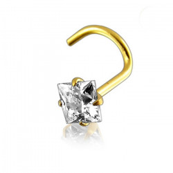 14K Solid Yellow Gold Square Claw Set CZ Gem Nose Screw