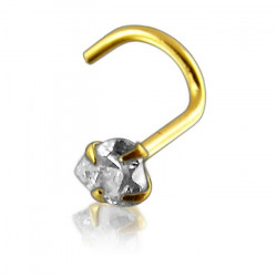 14K Solid Yellow Gold Heart Claw Set CZ Gem Nose Screw