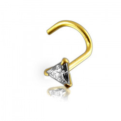 14K Solid Yellow Gold Triangle Claw Set CZ Gem Nose Screw