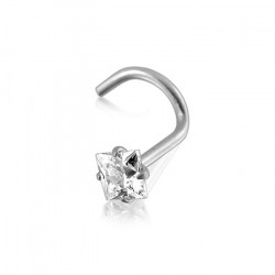 14K Solid White Gold Square Claw Set CZ Gem Nose Screw