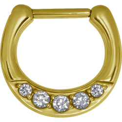 Gold Plated Surgical Steel Round Multi Jewelled Septum Clicker