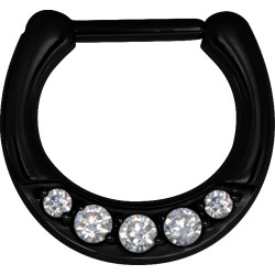 Black Surgical Steel Round Multi Jewelled Septum Clicker