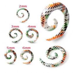 Green & Orange Multi Stripe Acrylic Spiral