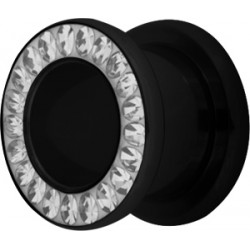Acrylic Externally Threaded Mechanical Tunnel with Epoxy Covered Gems