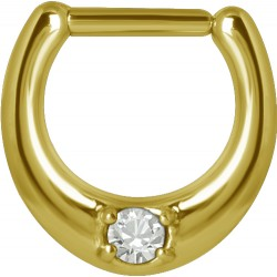 Gold Plated Surgical Steel Single Jewelled Septum Clicker