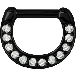 Black Surgical Steel Claw Set Jewelled Septum Clicker