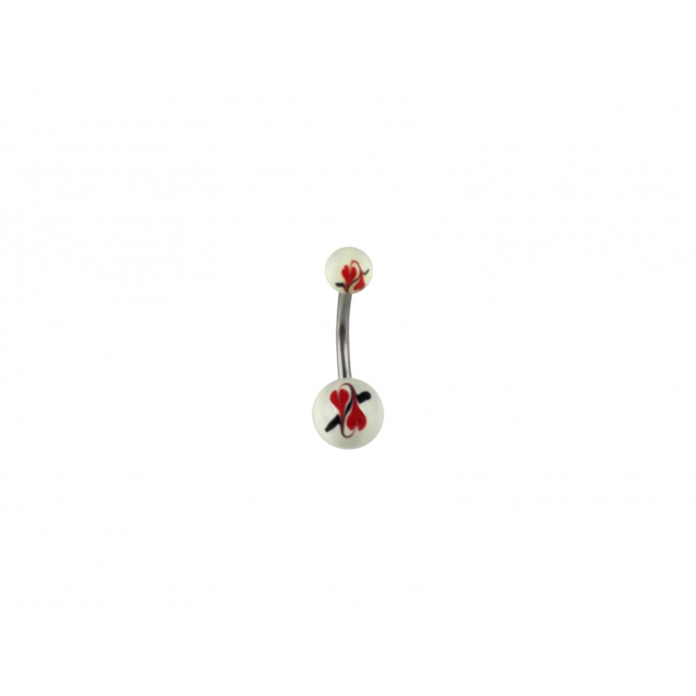 Hand Painted Double Heart Acrylic and Surgical Steel Non-dangle Belly Button Ring