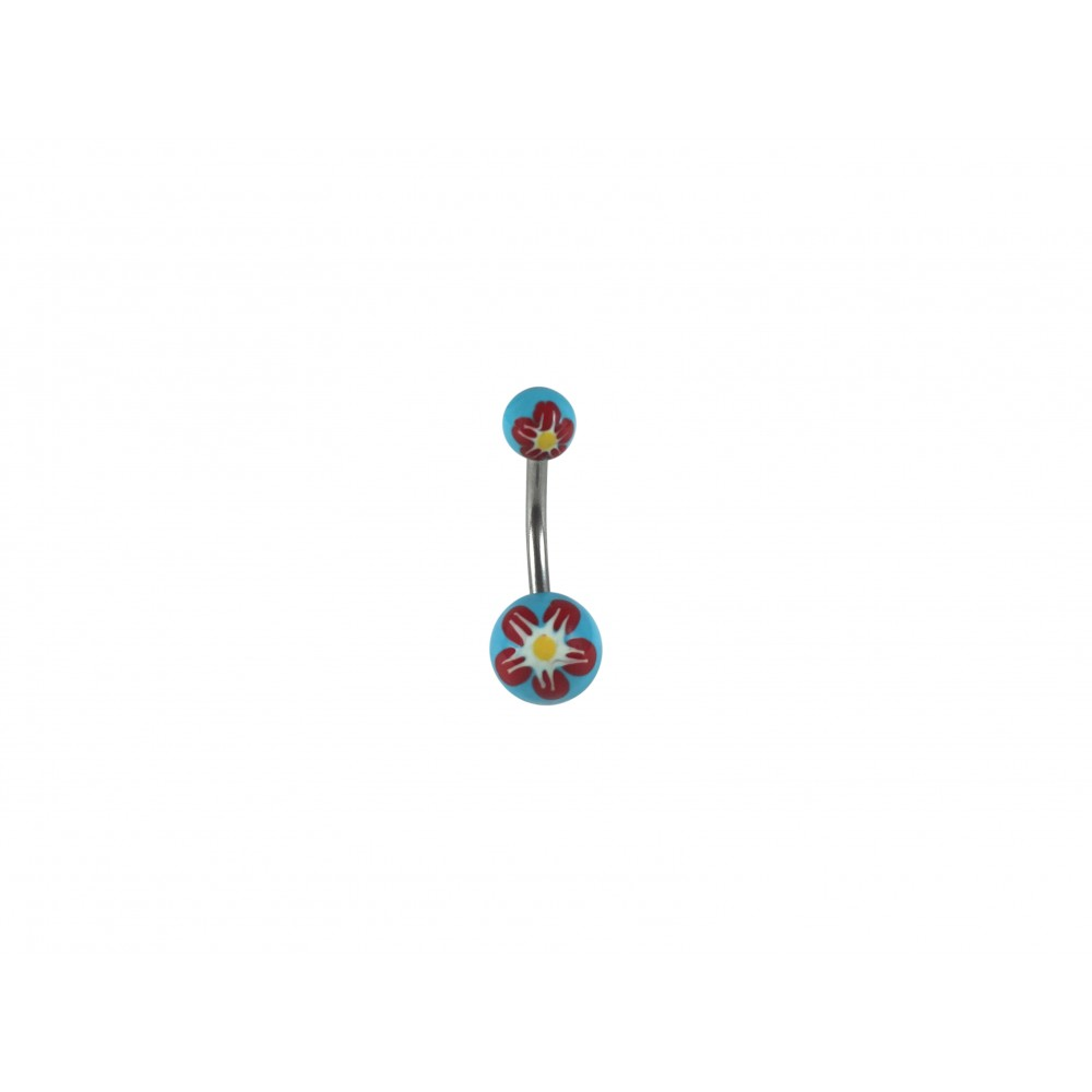 Hand Painted Flower Acrylic and Surgical Steel Non-dangle Belly Button Ring