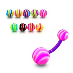 Bioplast Belly Button Ring with Wavy Striped Acrylic Balls
