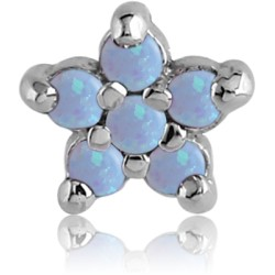 Titanium Claw Set Synthetic Opal Gem Flower Microdermal Top