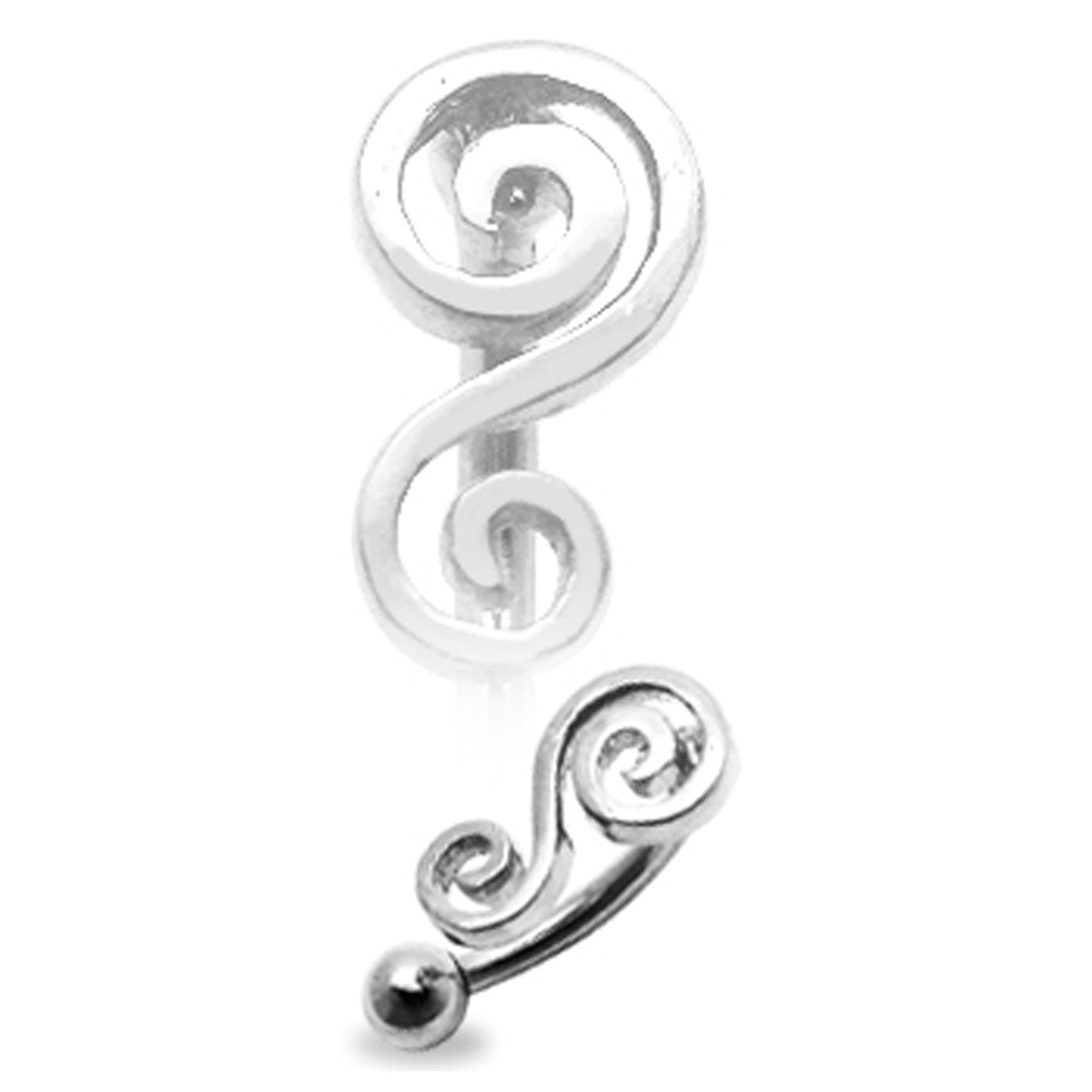 Surgical Steel Eyebrow Bar with 925 Sterling Silver Filigree Swirl