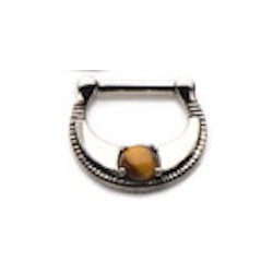 Surgical Steel Septum Clicker with Tigers Eye Stone