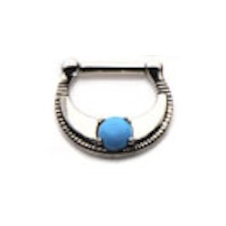 Surgical Steel Septum Clicker with Turquoise Stone