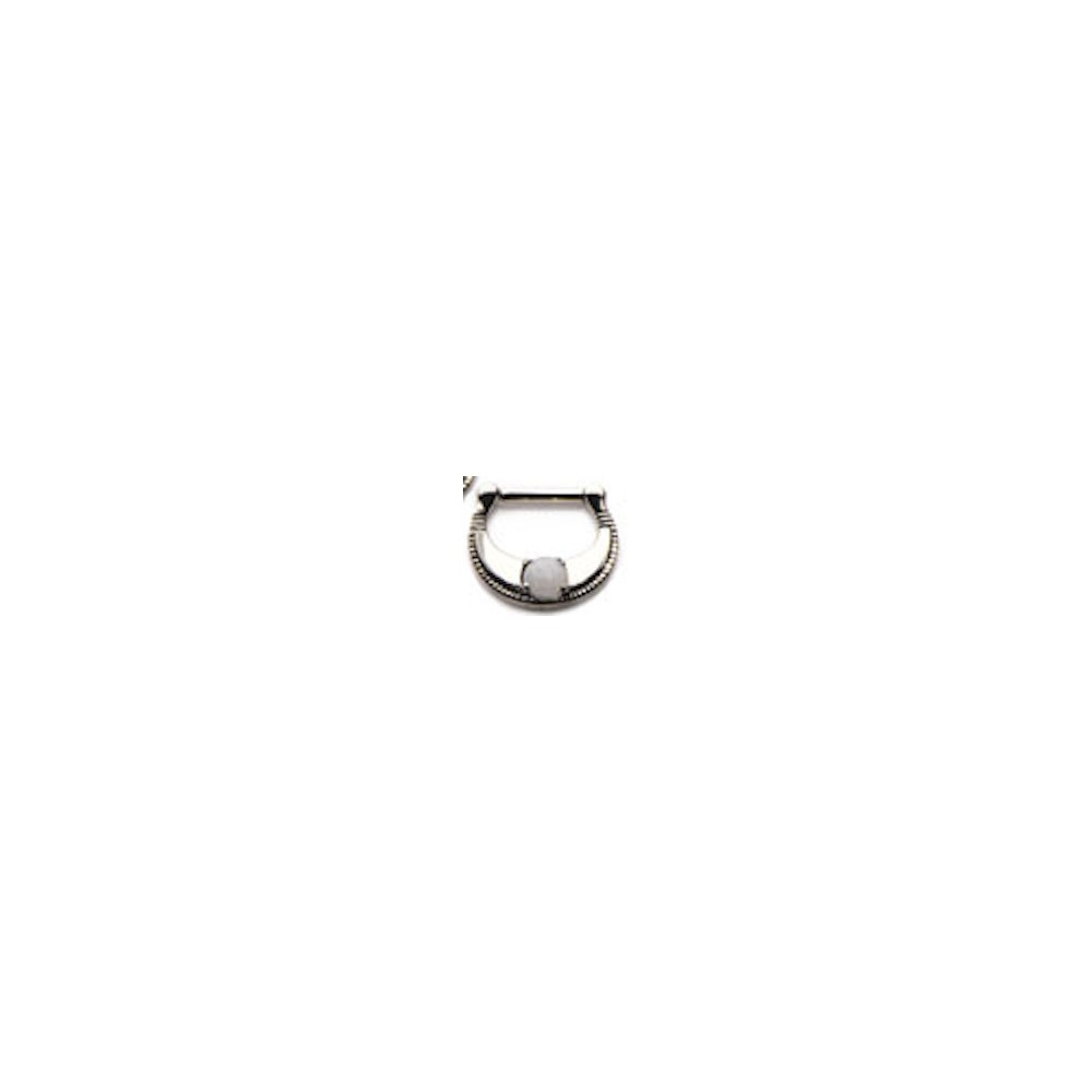 Surgical Steel Septum Clicker with White Jade Stone