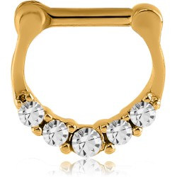Gold Plated Surgical Steel Claw Set Multi Gem Septum Clicker
