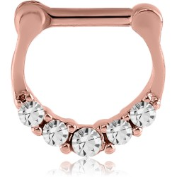 Rose Gold Plated Surgical Steel Claw Set Multi Gem Septum Clicker
