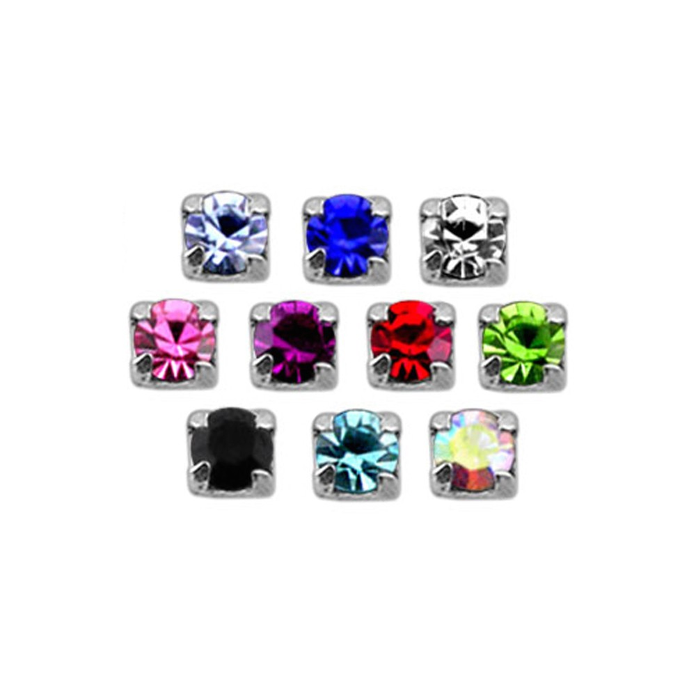 925 Sterling Silver Claw Set Small Square Gem L Shape Nose Stud