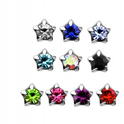 925 Sterling Silver Small Claw Set Star Gem L Shape Nose Stud