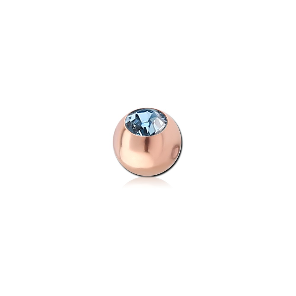 Rose Gold Plated Surgical Steel CZ Gem Dimpled Ball for CBR